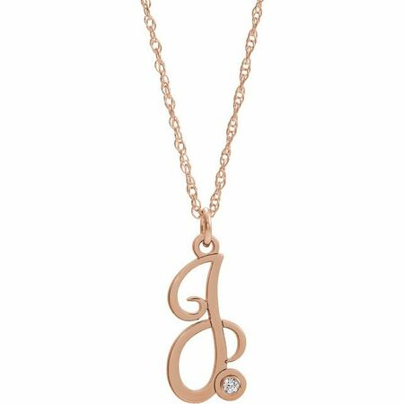 Natural Diamond Necklace in 14 Karat Rose Gold .02 Carat Diamond Script Initial J 16-18