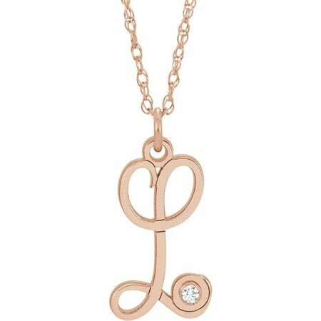 Natural Diamond Necklace in 14 Karat Rose Gold .02 Carat Diamond Script Initial L 16-18