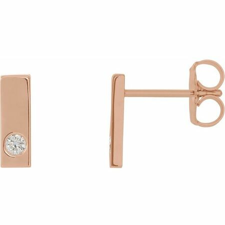 White Diamond Earrings in 14 Karat Rose Gold .06 Carat Diamond Bar Earrings