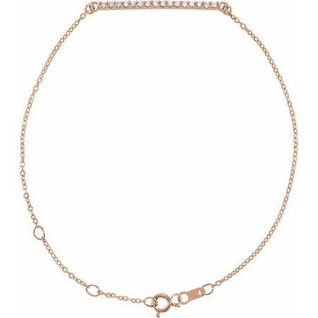 White Diamond Bracelet in 14 Karat Rose Gold .07 Carat Diamond Bar 6 1/2-71/2