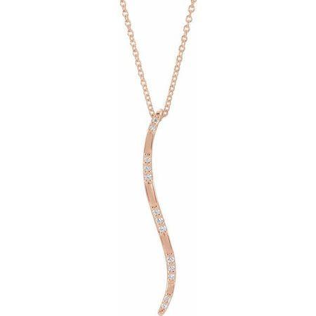 Genuine Diamond Necklace in 14 Karat Rose Gold .07 Carat Diamond Freeform Vertical Bar 16-18