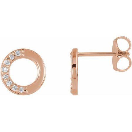 White Diamond Earrings in 14 Karat Rose Gold .08 Carat Diamond Circle Earrings