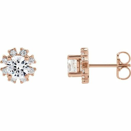 White Diamond Earrings in 14 Karat Rose Gold 1 1/8 Carat Diamond Earrings