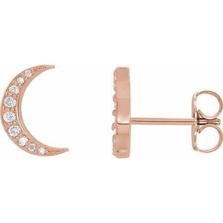 White Diamond Earrings in 14 Karat Rose Gold 1/10 Carat Diamond Crescent Moon Earrings
