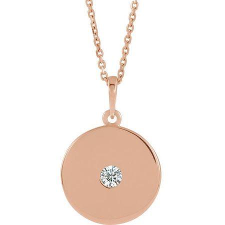 Genuine Diamond Necklace in 14 Karat Rose Gold 1/10 Carat Diamond Disc Necklace