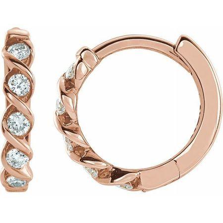 White Diamond Earrings in 14 Karat Rose Gold 1/10 Carat Diamond Hoop Earrings