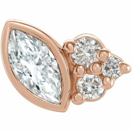 White Diamond Earrings in 14 Karat Rose Gold 1/10 Carat Diamond Left Earring