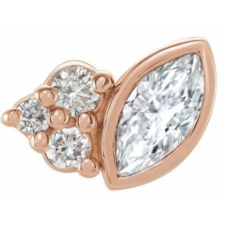 White Diamond Earrings in 14 Karat Rose Gold 1/10 Carat Diamond Right Earring