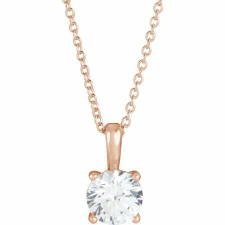 White Diamond Necklace in 14 Karat Rose Gold 1/2 Carat Diamond 16-18
