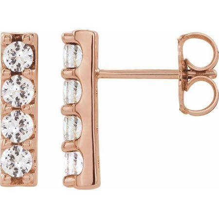 White Diamond Earrings in 14 Karat Rose Gold 1/2 Carat Diamond Bar Earrings
