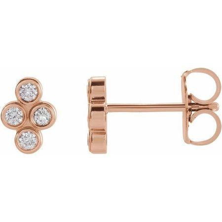 White Diamond Earrings in 14 Karat Rose Gold 1/2 Carat Diamond Bezel-Set Cluster Earrings