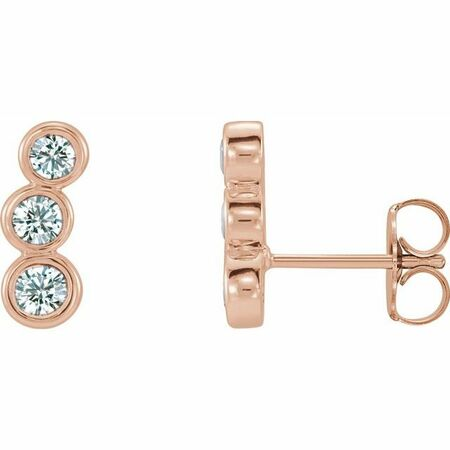 White Diamond Earrings in 14 Karat Rose Gold 1/2 Carat Diamond Ear Climbers