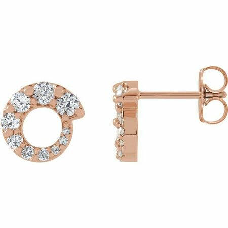 White Diamond Earrings in 14 Karat Rose Gold 1/2 Carat Diamond Graduated Circle Earrings