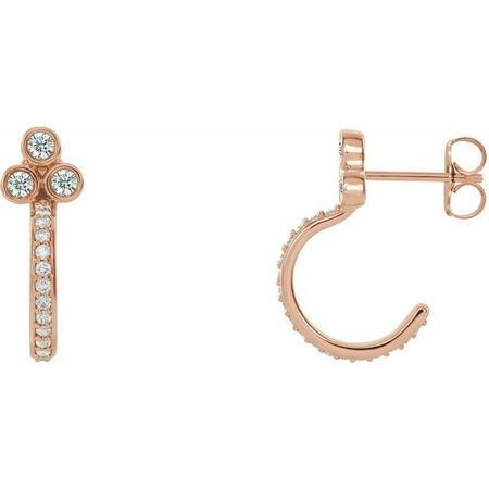 White Diamond Earrings in 14 Karat Rose Gold 1/2 Carat Diamond Hoop Earrings