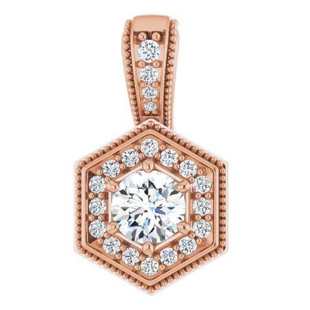 White Diamond Pendant in 14 Karat Rose Gold 1/2 Carat Diamond Pendant
