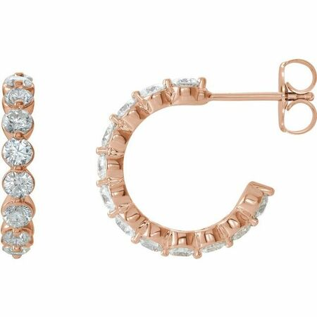 White Diamond Earrings in 14 Karat Rose Gold 1 3/8 Carat Diamond Hoop Earrings