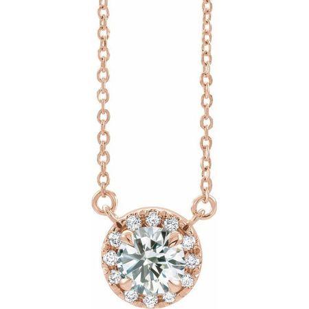 White Diamond Necklace in 14 Karat Rose Gold 1/3 Carat Diamond 16