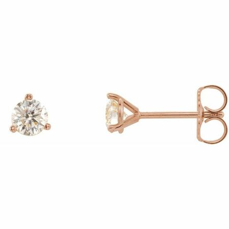 White Diamond Earrings in 14 Karat Rose Gold 1/3 Carat Diamond 3-Prong Earrings - VS F+