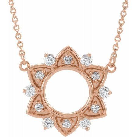 Genuine Diamond Necklace in 14 Karat Rose Gold 1/3 Carat Diamond Accented 16