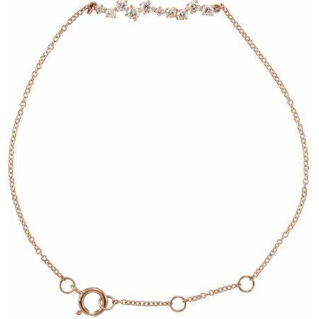 White Diamond Bracelet in 14 Karat Rose Gold 1/3 Carat Diamond Bar 7