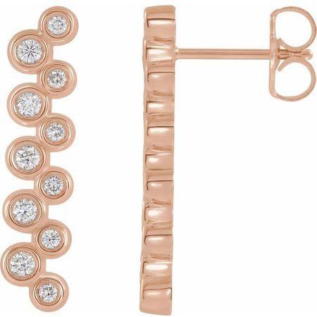 White Diamond Earrings in 14 Karat Rose Gold 1/3 Carat Diamond Bezel-Set Bar Earrings