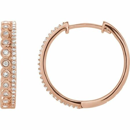 White Diamond Earrings in 14 Karat Rose Gold 1/3 Carat Diamond Geometric Hoop Earrings