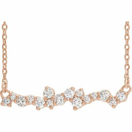 White Diamond Necklace in 14 Karat Rose Gold 1/3 Carat Diamond Scattered 16