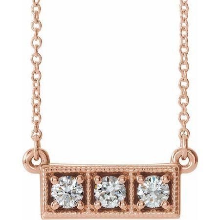 White Diamond Necklace in 14 Karat Rose Gold 1/3 Carat Diamond Three-Stone Granulated Bar 16-18