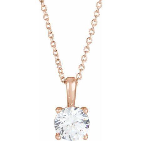 Genuine Diamond Necklace in 14 Karat Rose Gold 1/4 Carat Diamond 16-18