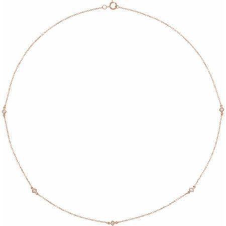 Genuine Diamond Necklace in 14 Karat Rose Gold 1/4 Carat Diamond 5-Station 20