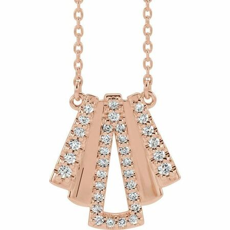 White Diamond Necklace in 14 Karat Rose Gold 1/4 Carat Diamond Art Deco 18
