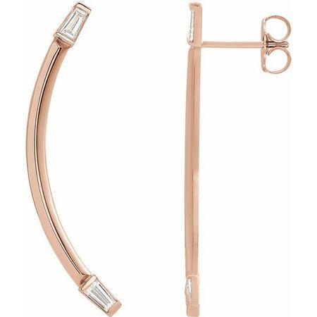 White Diamond Earrings in 14 Karat Rose Gold 1/4 Carat Diamond Curved Bar Earrings