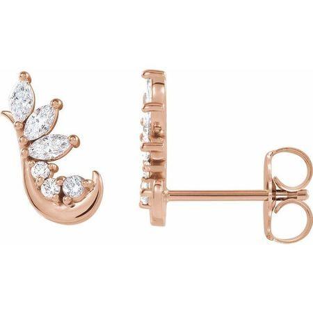White Diamond Earrings in 14 Karat Rose Gold 1/4 Carat Diamond Earring Climbers