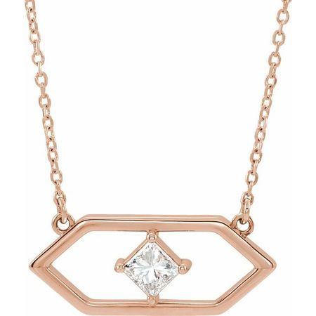 White Diamond Necklace in 14 Karat Rose Gold 1/4 Carat Diamond Geometric 18