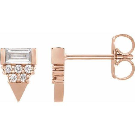 White Diamond Earrings in 14 Karat Rose Gold 1/4 Carat Diamond Geometric Earrings