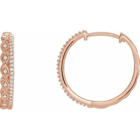 White Diamond Earrings in 14 Karat Rose Gold 1/4 Carat Diamond Geometric Hoop Earrings