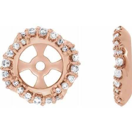 White Diamond Earrings in 14 Karat Rose Gold 1/4 Carat Diamond Halo-Style Earring Jackets with 5.7 mm ID