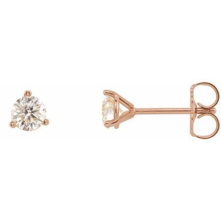 White Diamond Earrings in 14 Karat Rose Gold 1/5 Carat Diamond 3-Prong Earrings - VS F+