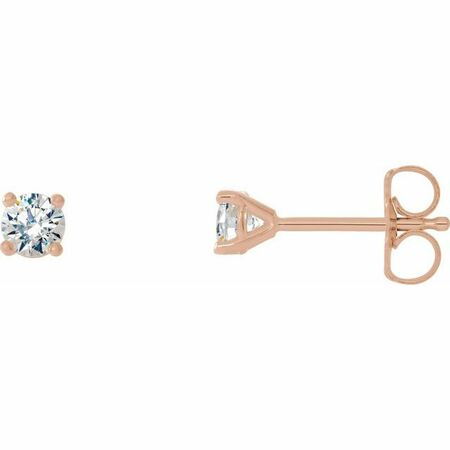 White Diamond Earrings in 14 Karat Rose Gold 1/5 Carat Diamond 4-Prong CocKaratail-Style Earrings