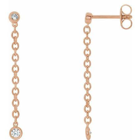 White Diamond Earrings in 14 Karat Rose Gold 1/5 Carat Diamond Bezel Set ChaEarrings