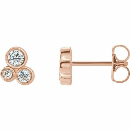 White Diamond Earrings in 14 Karat Rose Gold 1/5 Carat Diamond Geometric Cluster Earrings