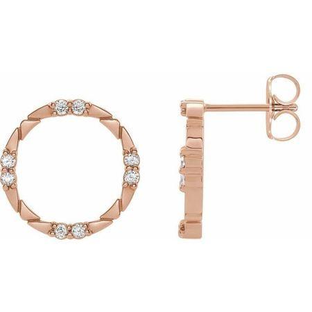 White Diamond Earrings in 14 Karat Rose Gold 1/5 Carat Diamond Geometric Earrings