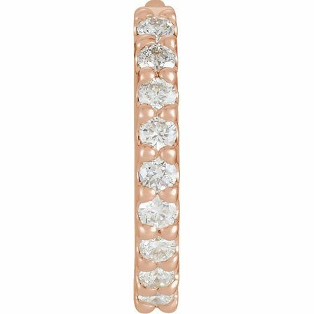 White Diamond Earrings in 14 Karat Rose Gold 1/5 Carat Diamond Hinged 14 mm Hoop Single Earring