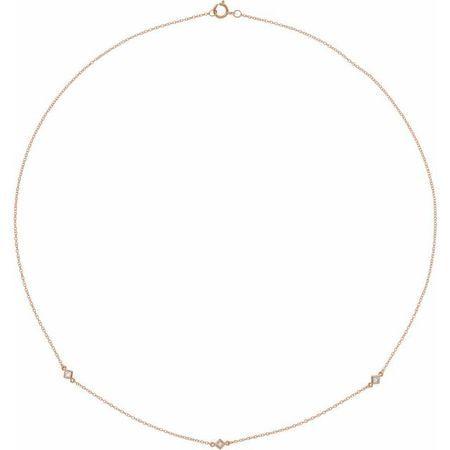 Genuine Diamond Necklace in 14 Karat Rose Gold 1/6 Carat Diamond 3-Station 24