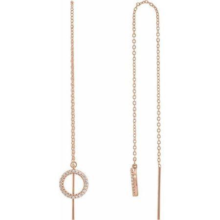 White Diamond Earrings in 14 Karat Rose Gold 1/6 Carat Diamond Geometric ChaEarrings
