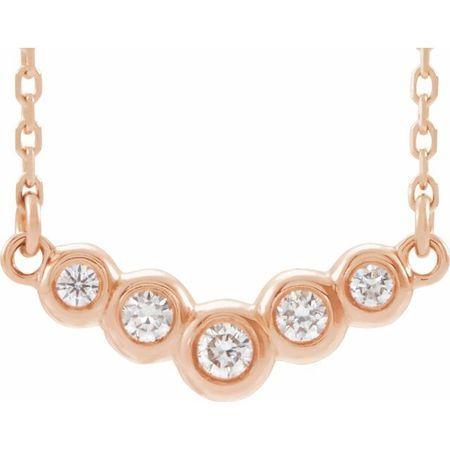 Genuine Diamond Necklace in 14 Karat Rose Gold 1/8 Carat Diamond 18