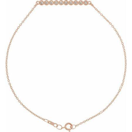 White Diamond Bracelet in 14 Karat Rose Gold 1/8 Carat Diamond Bar 6 1/2-7 1/2