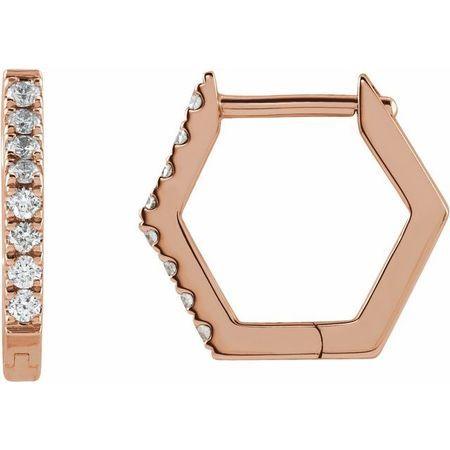 White Diamond Earrings in 14 Karat Rose Gold 1/8 Carat Diamond Geometric Hinged Hoop Earrings