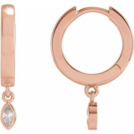 White Diamond Earrings in 14 Karat Rose Gold 1/8 Carat Diamond Hinged Hoop Earrings