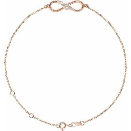 14 Karat Rose Gold .125 Carat Weight Diamond Infinity 6.5-7.5
